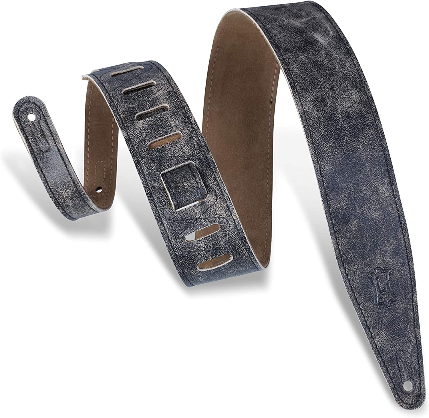 Black Levys Leathers Butter Double Stitch 2.5 wide Garment Leather Guitar Strap; Deluxe Series M17BDS-BLK