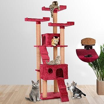 Leopet - Árbol rascador para gatos con cuevas, escaleras y plataformas - color bordó: Amazon.es: Hogar
