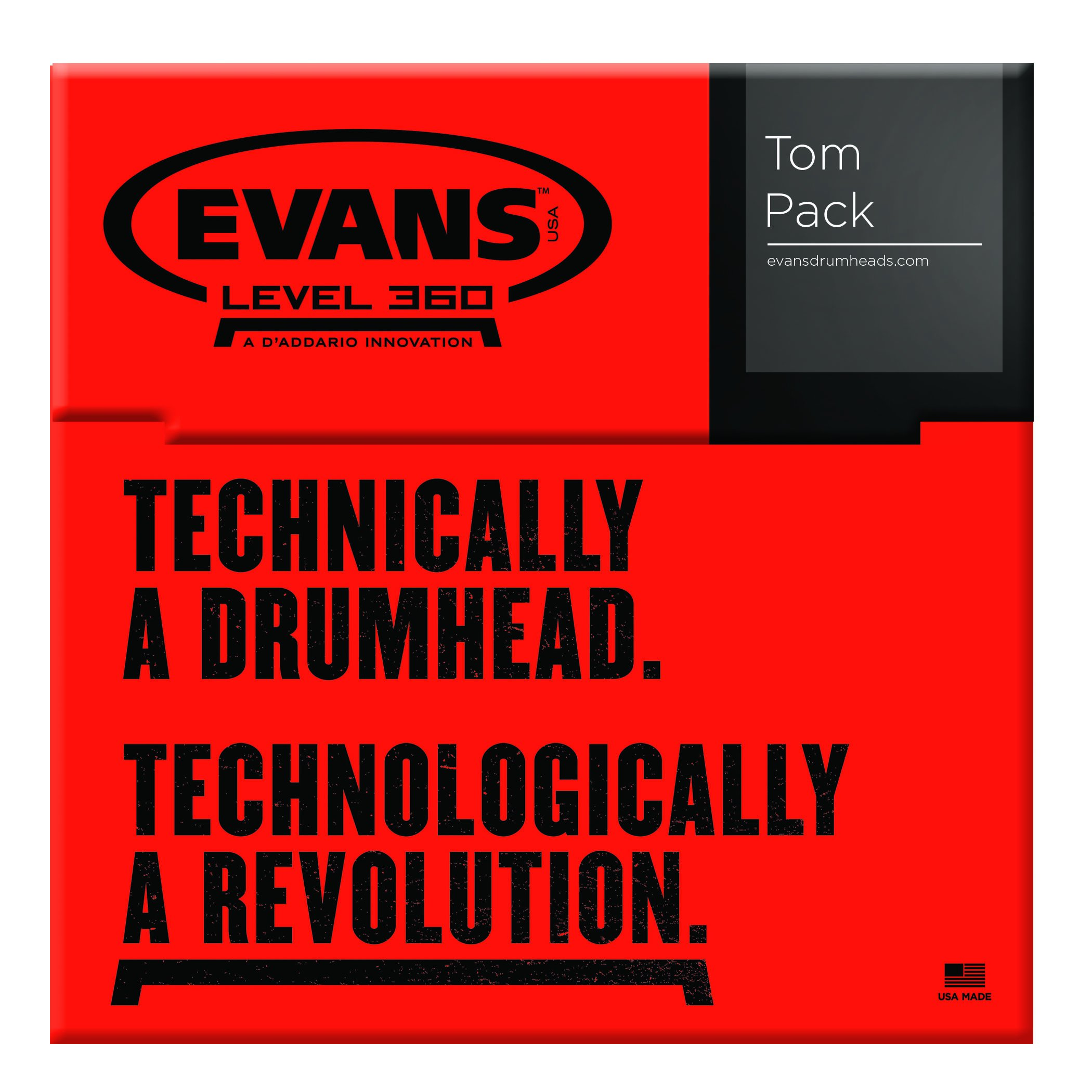 Evans EC2 Tompack, Clear, Rock (10 inch, 12 inch, 16 inch)