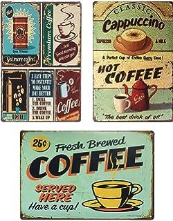 Amazon.com: UNIQUELOVER Cartel de metal para café, estilo ...