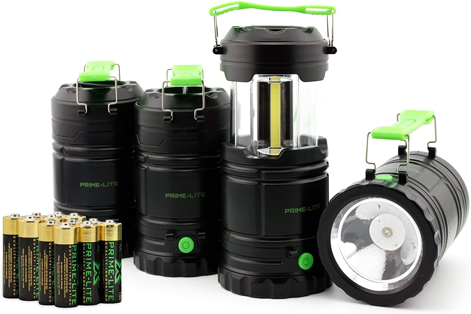 Prime-lite Camping Lantern Pack of 4 with Led - Battery Operated Lights - Led Lantern - Flashlights for Emergencies - Hurricane Supplies for Home - Used for Fishing, Hiking & Camping (Batteries Inc)