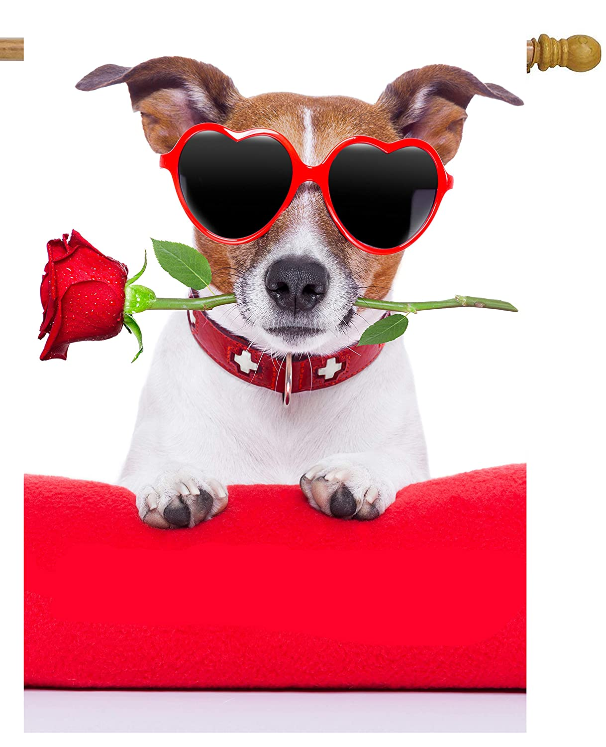"ShineSnow Happy Valentines Day Funny Hipster Dog with Red Rose Flower House Flag 28"" x 40"" Double Sided Polyester Welcome Yard Garden Flag Banners for Patio Lawn Home Outdoor Decor"