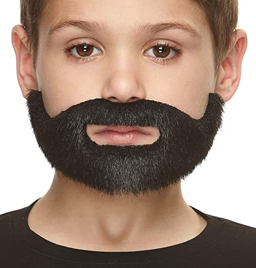 Amazon Com Mustaches Fake Beard Self Adhesive Novelty Small Short Boxed False Facial Hair Costume Accessory For Kids Black Lustrous Color Beauty