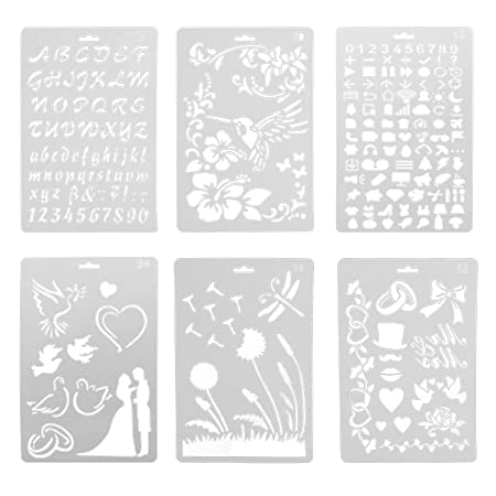6 PCS Metal Multifuncional dibujo plantilla regla plantilla para Agenda Planner revista Scrapbook horario libro diario