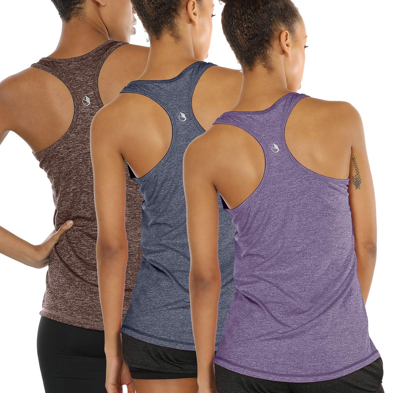icyzone Workout Tank Tops for Women - Racerback Athletic Yoga Tops, Running Exercise Gym Shirts(Pack of 3) (XS, Henna/Twilight Purple/Navy) by icyzone