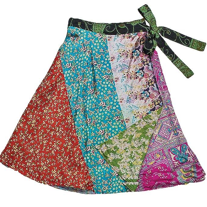 Corto seda patchwork Reversible falda - jedzebel - DN19   comercio ...
