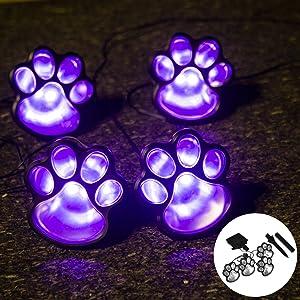 Obrecis Solar Light Paw Print Outdoor, Dog Puppy, Animal, Cat Paw Path Light, Garden Lamp for Landscape Walkway Yard, Set of 4(Purple)