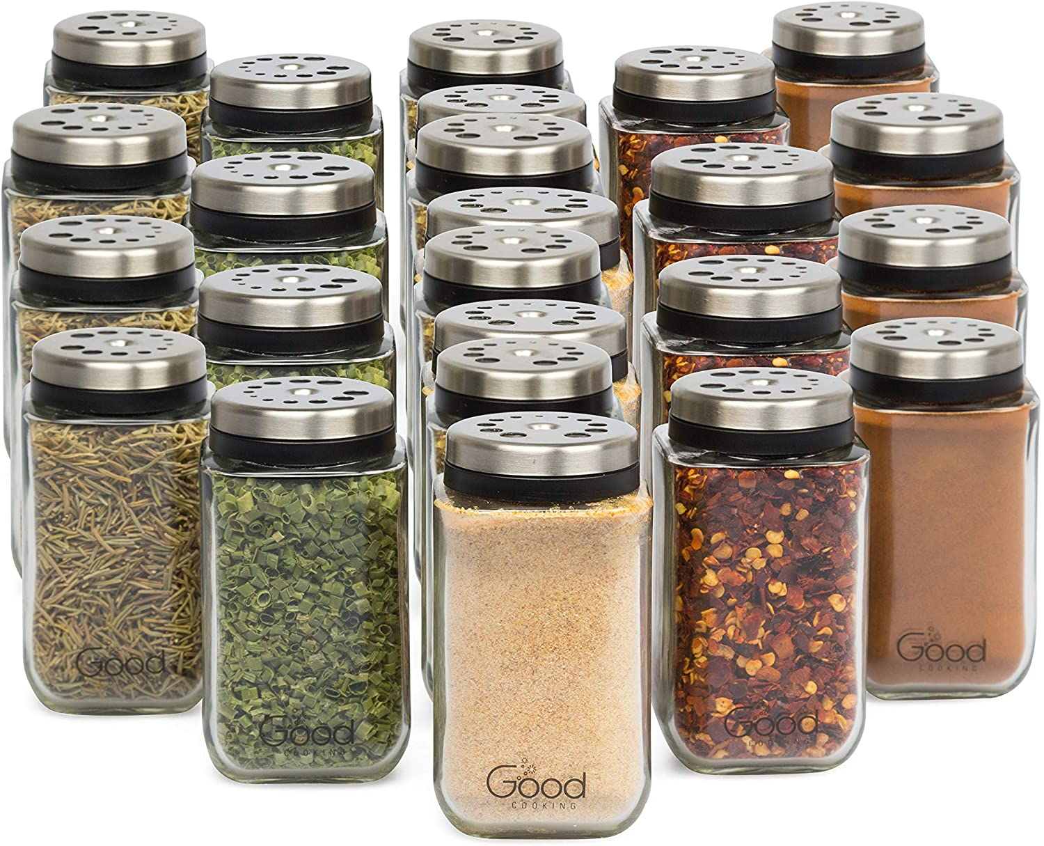 Adjustable Glass Spice Jars Set Of 24 Premium Seasoning Shaker Rub Container Tins With 6 Pouring Sizes Kitchen Dining