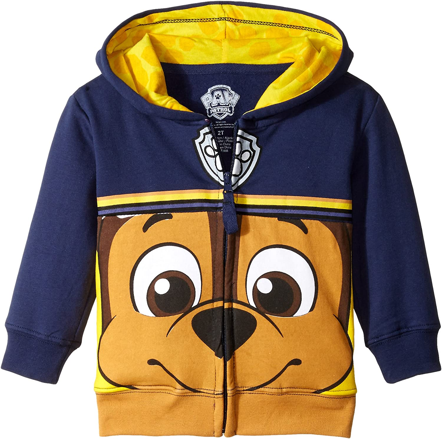 Paw Patrol Boys' Toddler Character Big Face Zip-up Hoodies: Clothing