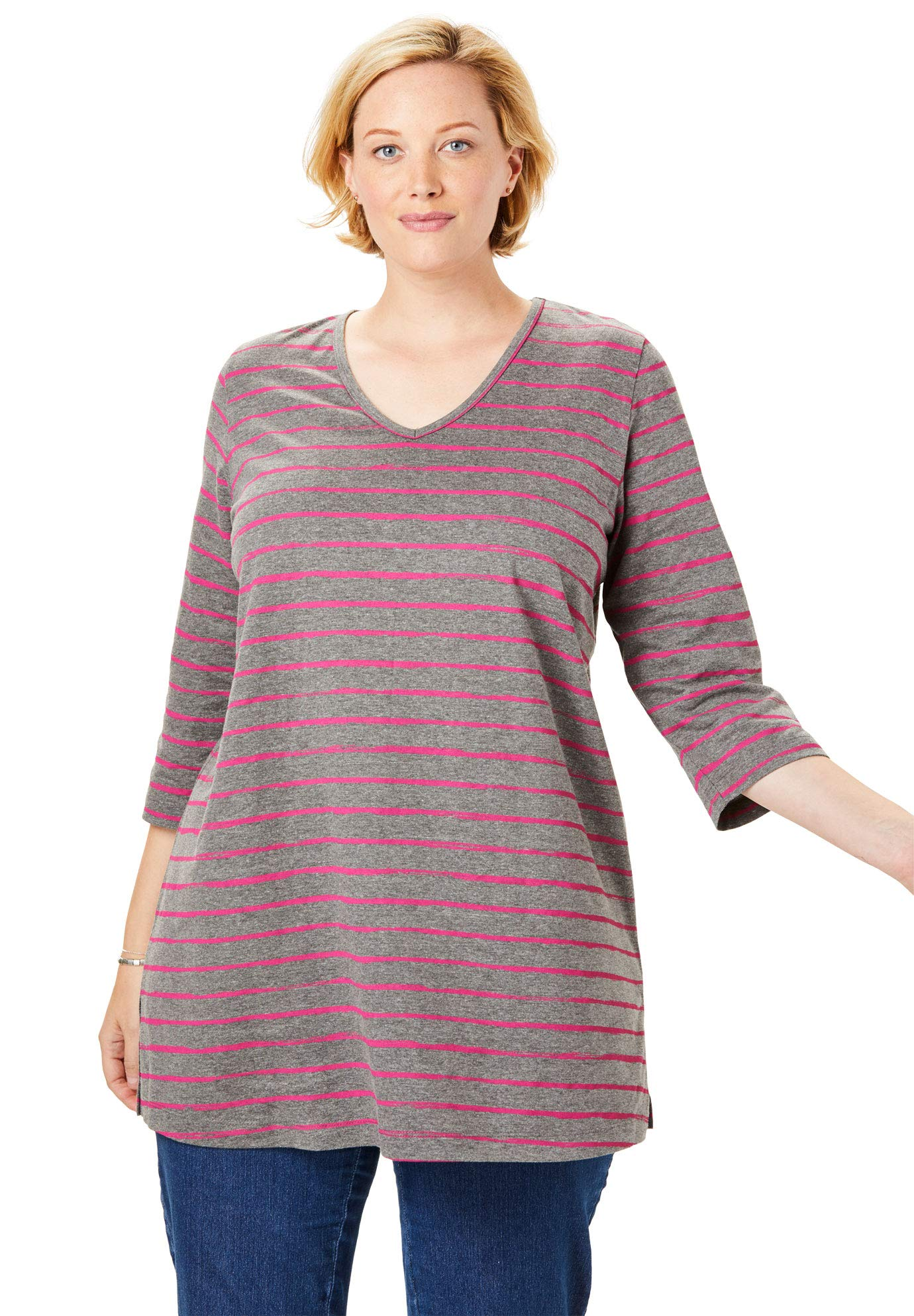 Woman Within Women's Plus Size Perfect V-Neck Three-Quarter Sleeve Tunic - Raspberry Sorbet Painterly Stripe, 18/20 by Woman Within