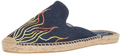 a47b8649e Soludos Women's Stitched Flames Mule Slipper Dark Denim 6 Regular US