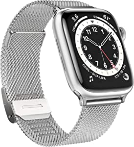 GBPOOT Bands Compatible with Apple Watch Bands 38mm 40mm 42mm 44mm,Clasp Stainless Steel Milanese Bands for iwatch Series 6/5/4/3/2/1/SE Men Women
