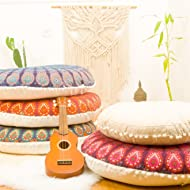 """INDIAN CREATIONS Bohemian Yoga Décor Floor Cushion Cover - Large 32"""" Round Meditation Pillow Case - Pouf Covers. - Set of 4 cushion covers"""