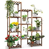 Plant Stand Indoor Ourdoor,CFMOUR 10 Tire Tall Large Wood Plant Shelf Multi Tier Flower Stands,Garden Shelves Wooden Plant Di