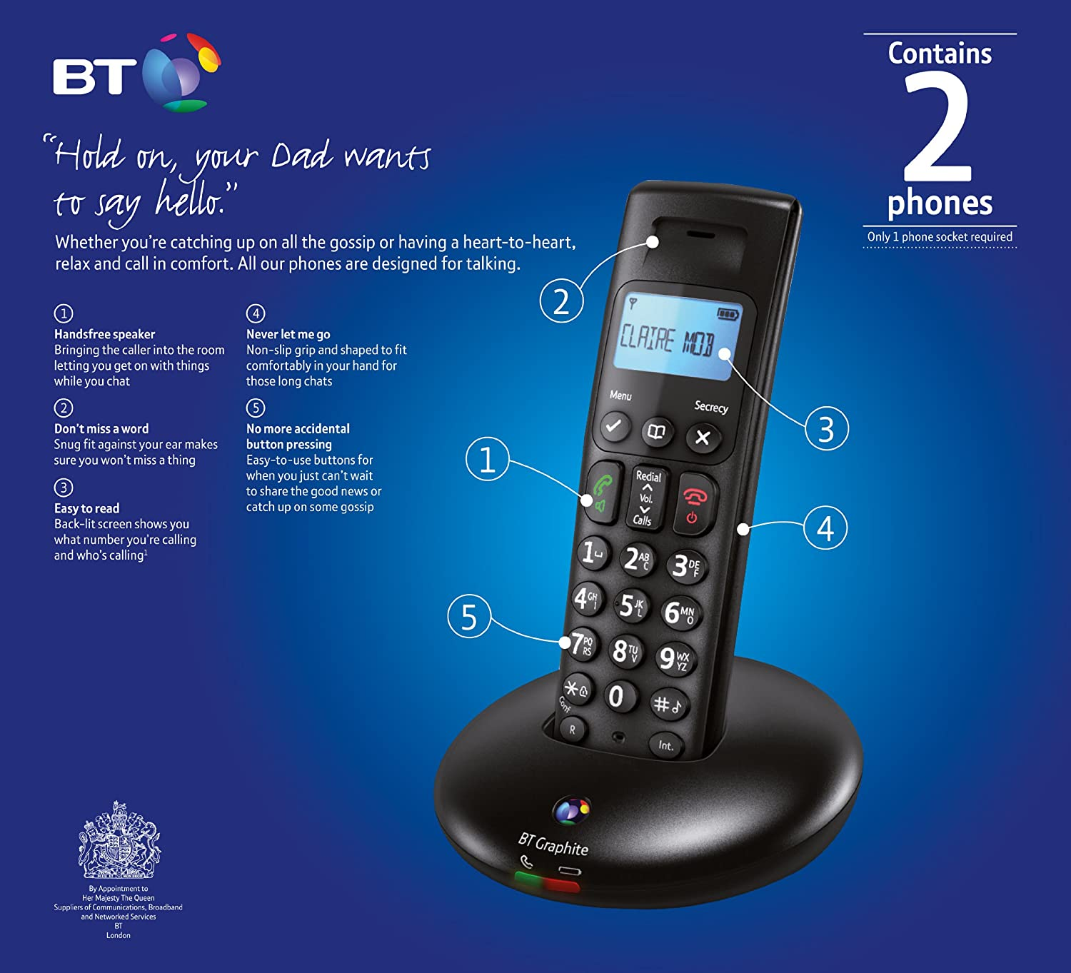 BT Graphite 2100 Twin DECT Digital Cordless Phone: Amazon.co.uk: Electronics