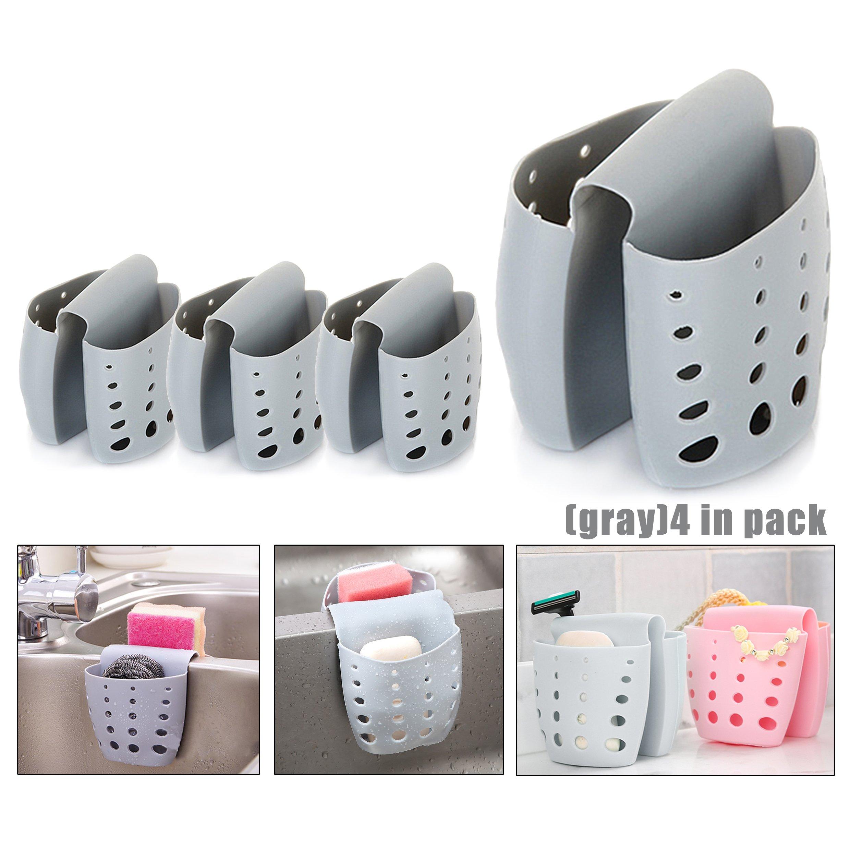 4PCS Sponge Sink Holder,Hanging Silicone Kitchen Gadget Storage Organizer,Baskets Drain Bag (Gray)