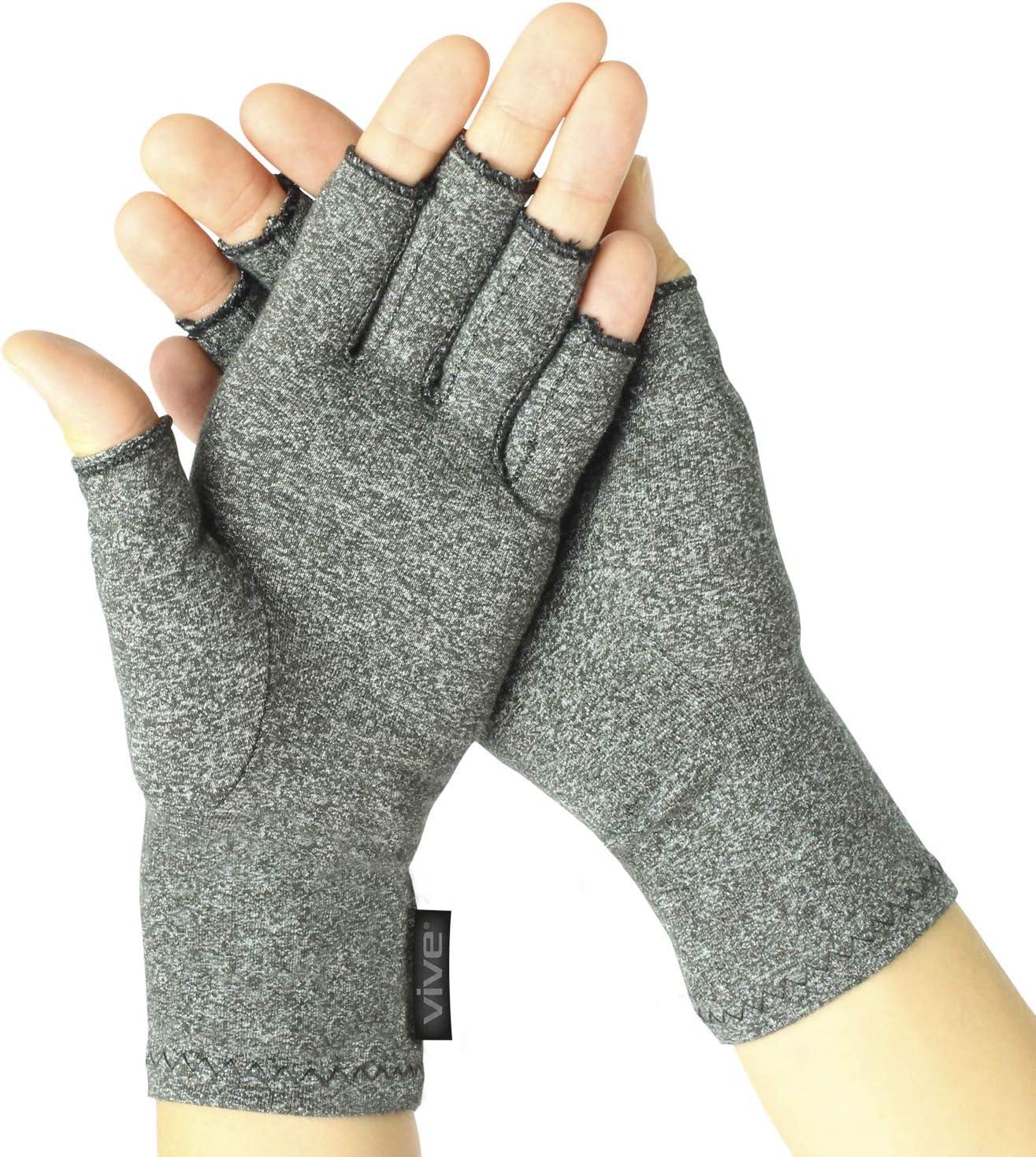 Artritis guantes por vive–Guantes de compresión para artritis y artrosis–Mano Guantes para artritis (alivio de dolor en las articulaciones síntoma–Hombres y Mujeres–Abrir El Dedo, Large, 2