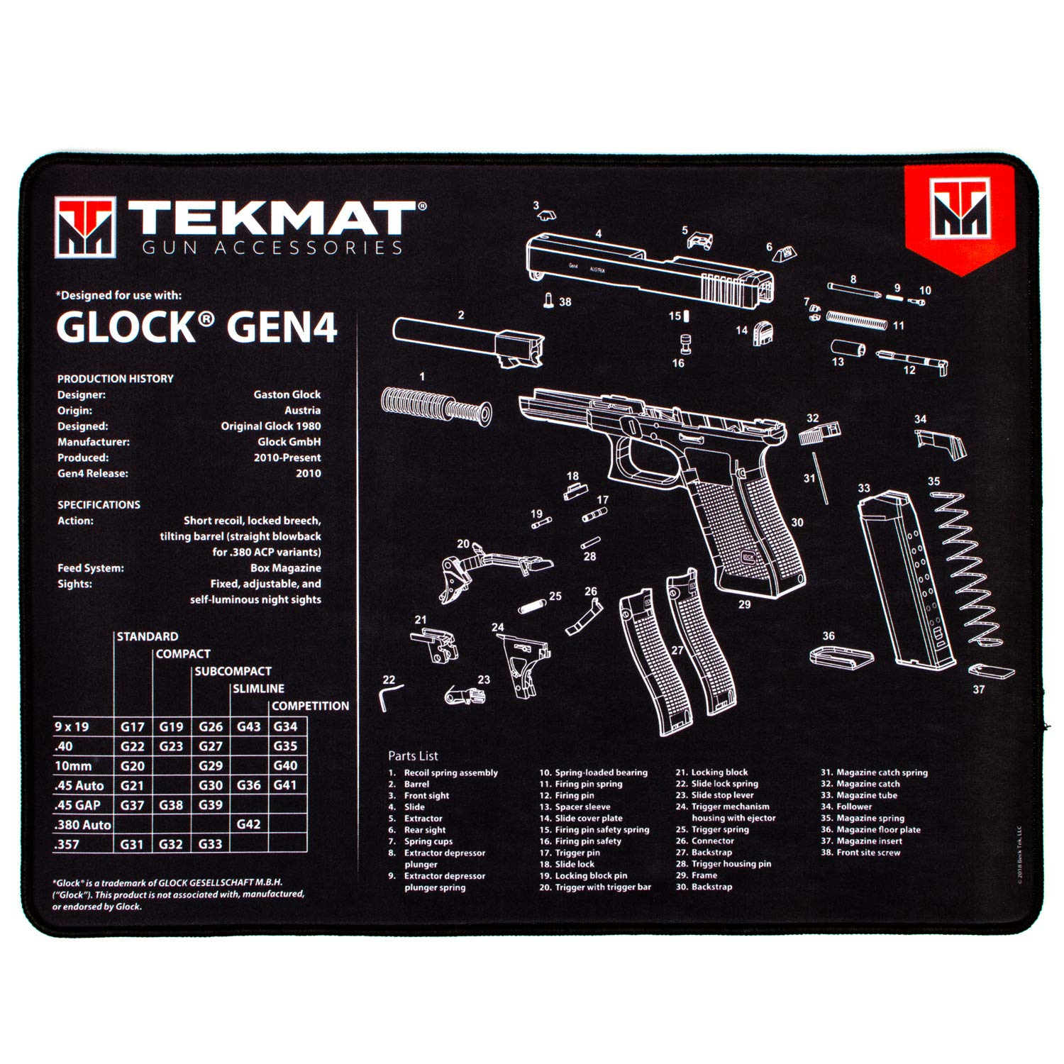TekMat Ultra Cleaning Mat for use with Glock Gen 4 by TekMat