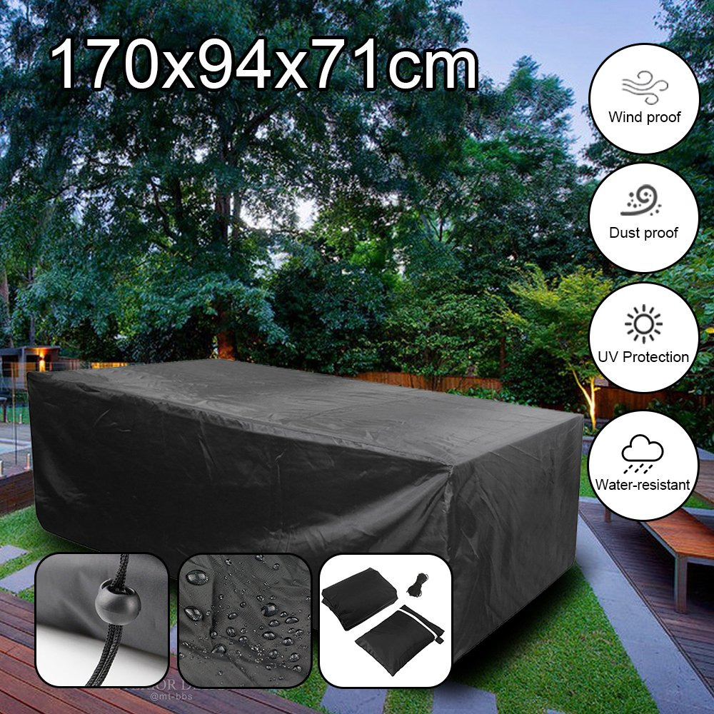 feifei Rectangular Patio Table Cover, Waterproof Garden Outdoor Rectangle Table & Chair Cover, Furniture Protection Black (67'' x 37'' x 28'')