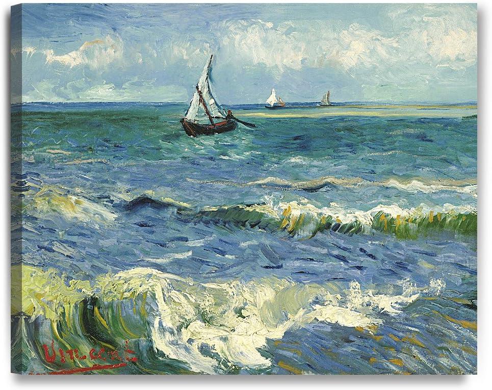 Amazon Com Decorarts The Sea At Les Saintes Maries De La Mer Vincent Van Gogh Reproductions Giclee Canvas Print Wall Art For Home Wall Decor 30x24x1 5 Posters Prints