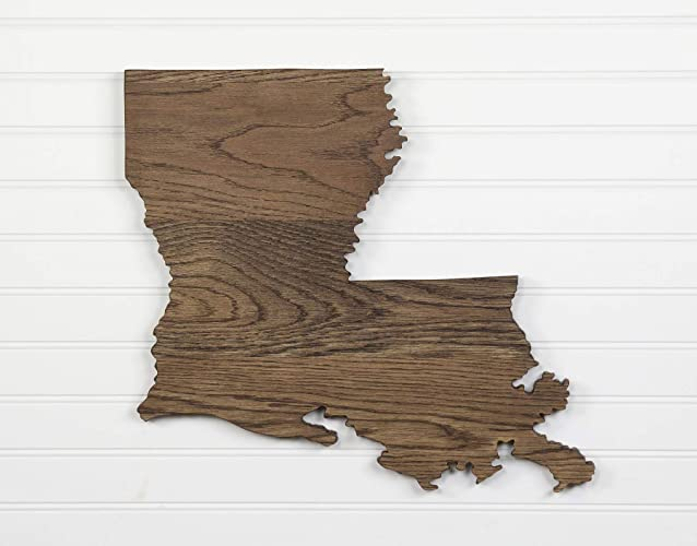 Louisiana State Shape Wood Cutout Sign Wall Art In Oak 17 Wide 6 Stain Colors Personalized With Choice Of Wooden Dimensional Heart Or Star At