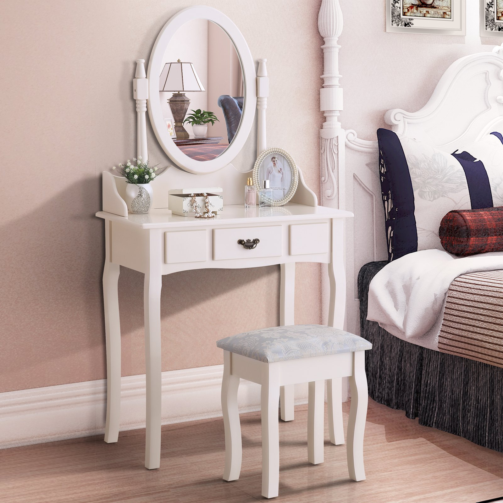 GTM Vanity Table Set Makeup Desk with Stool and Oval Mirror , Ivory