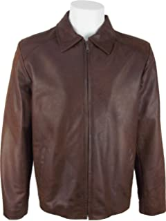 712edfe3c1d UNICORN Mens Casual Car Coat Real Leather Jacket Brown Brushed Effect #EQ