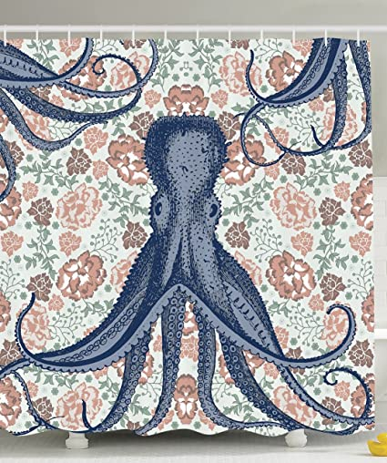 Kraken Shower Curtain Personalized Decor For Bathroom Octopus With  Tentacles Floral Design And Flower Print Decorations Gallery