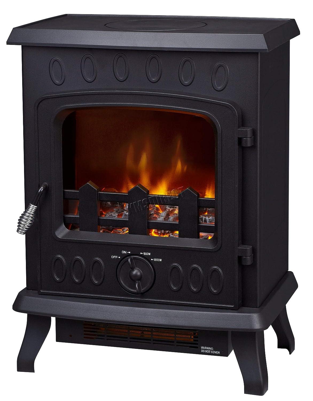 FoxHunter Electric Log Burner | Steel Flame Effect 3D Heater | Vintage Cast Iron Indoor Home Freestanding Woodburner Fireplace | Coal Burner Fire Fake Flame | 1800W - 188T Black KMS