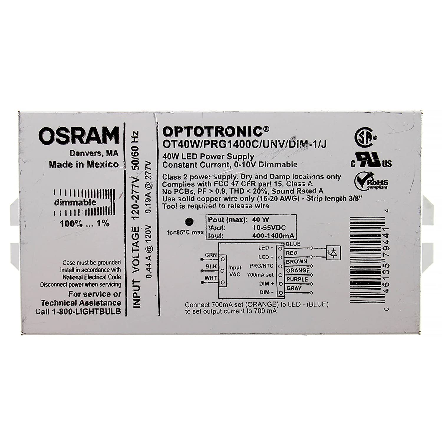 Osram OT40W/PRG1400C/UNV/DIM-1/J Optotronic 40W Programmable Led Power Supply