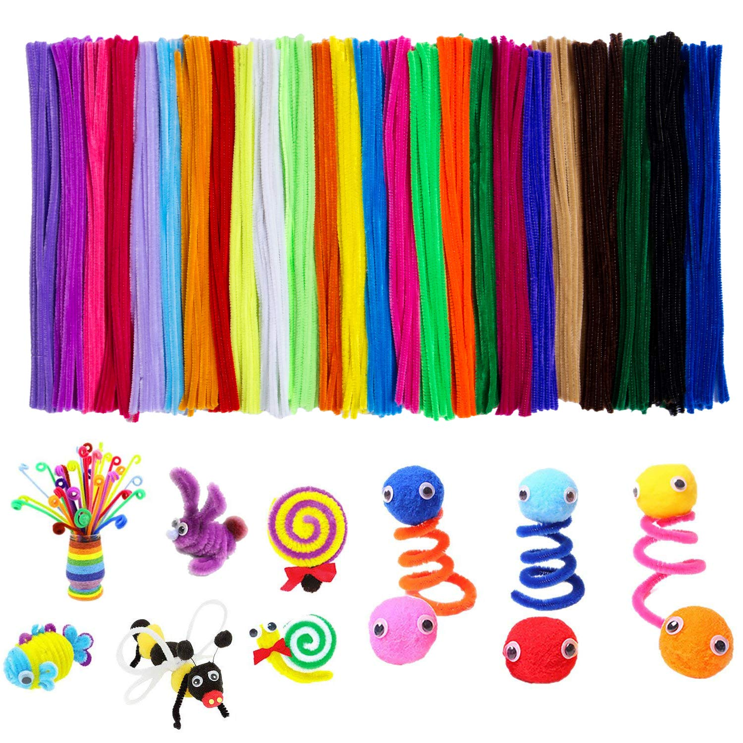 Acerich 500 Pcs Pipe Cleaners Colored Chenille Stems for DIY Art Crafts (6 mm x 12 Inch) SKU-073-1