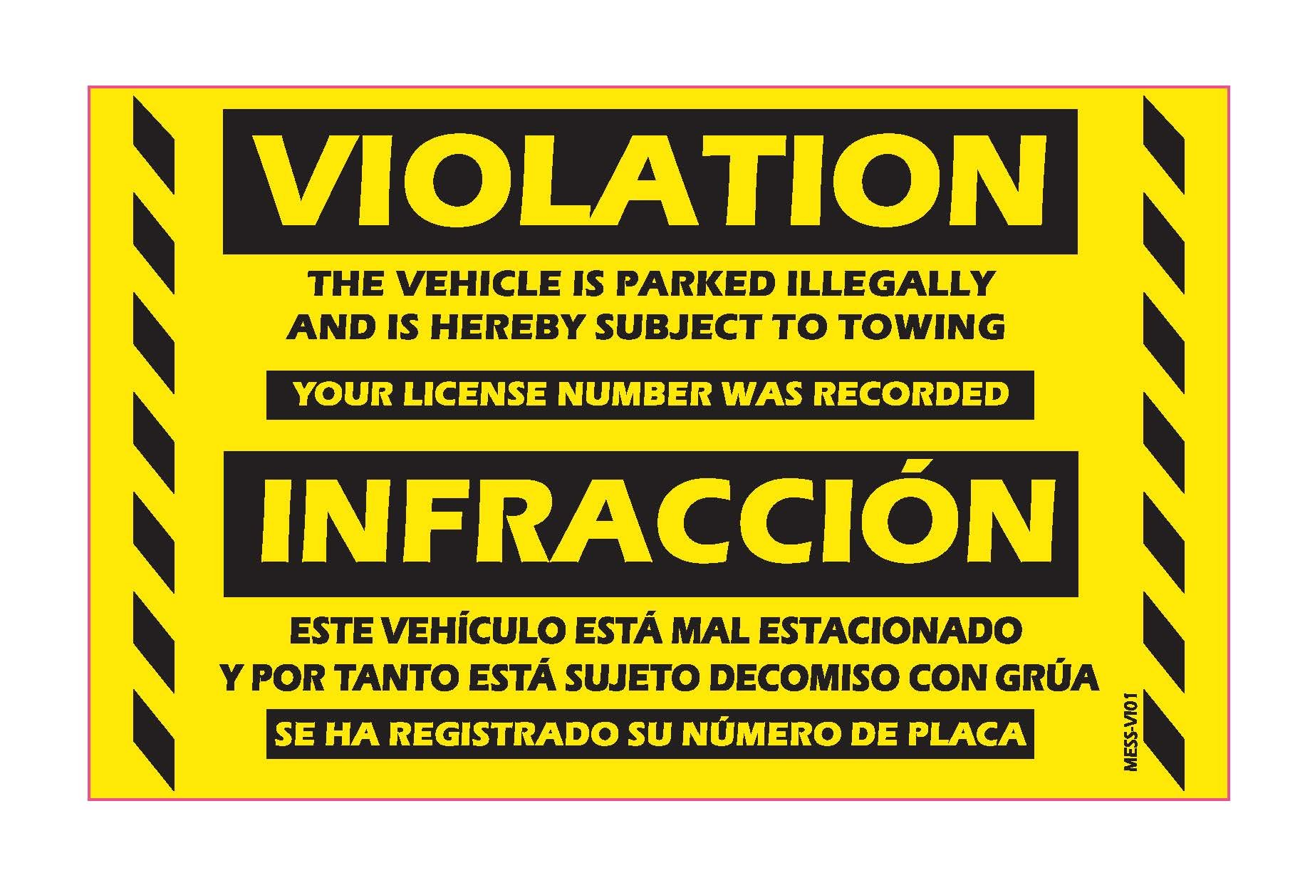 """Parking Violation Stickers Bilingual Spanish No Parking Prohibido Estacionar / Hard To Remove Very Sticky Permanent Adhesive by MESS (50-Pack) 8"""" x 5"""""""