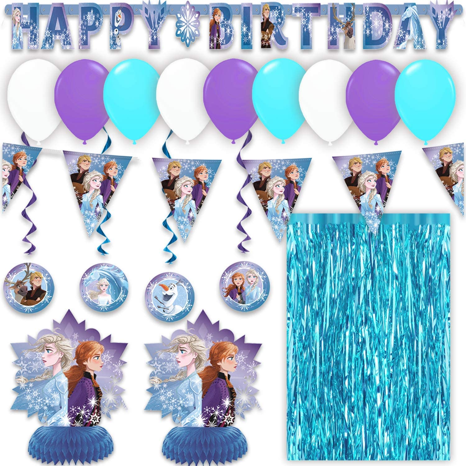 """Hanging Swirls Flag Banner Table Centerpieces and Balloons Great Decor Set for Themed Parties /""""Happy Birthday/"""" Joint Banner Disney Frozen 2 Party Decorations Metallic Tinsel Curtain"""