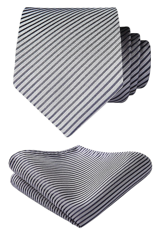 HISDERN Men's Striped Tie Handkerchief Wedding Party Necktie & Pocket Square Set TS604L8S