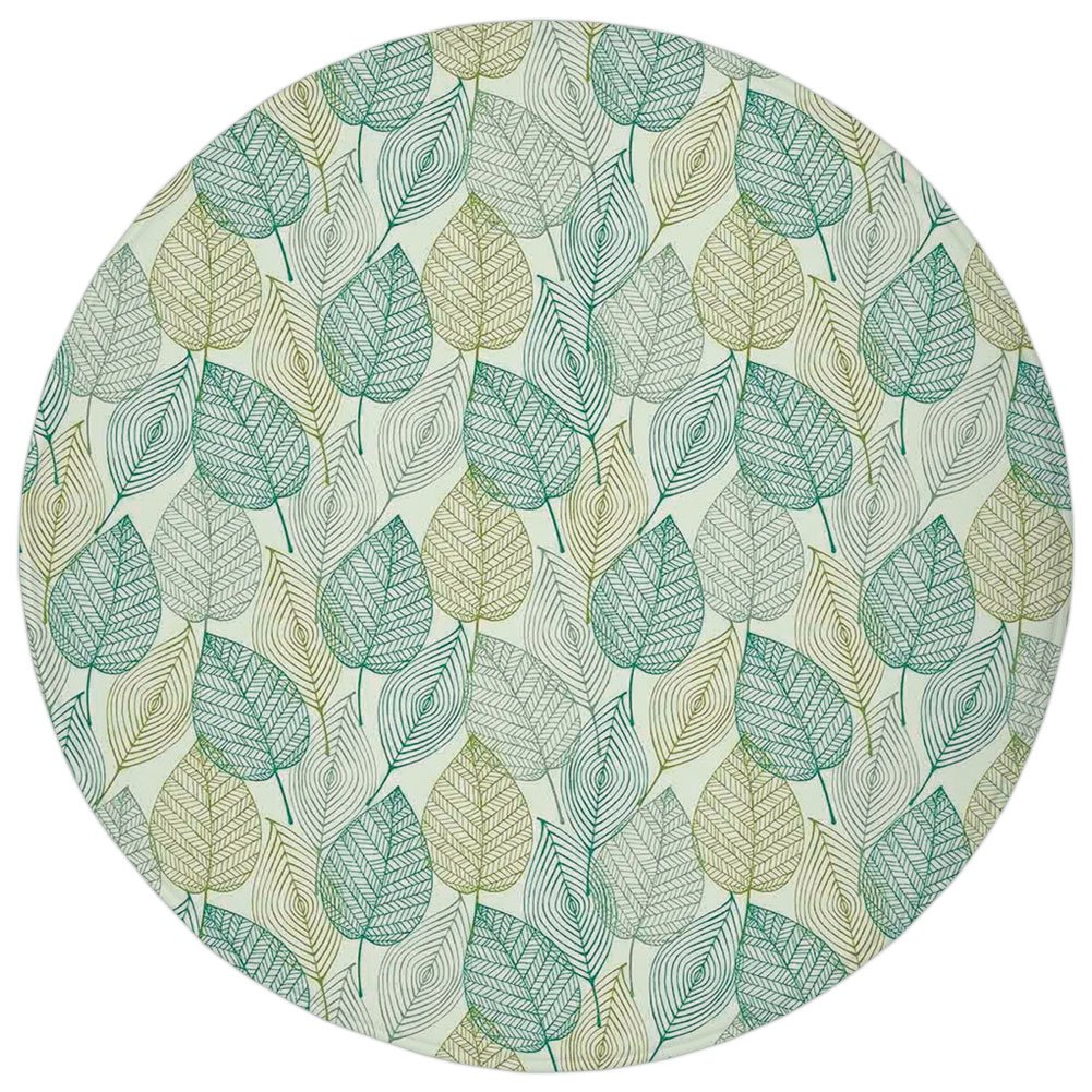Round Rug Mat Carpet,Leaves,Pattern of Modern Leaf Forms Geometric Lines Shapes Country Style Decorative Print Decorative,Green Yellow,Flannel Microfiber Non-slip Soft Absorbent,for Kitchen Floor Bath