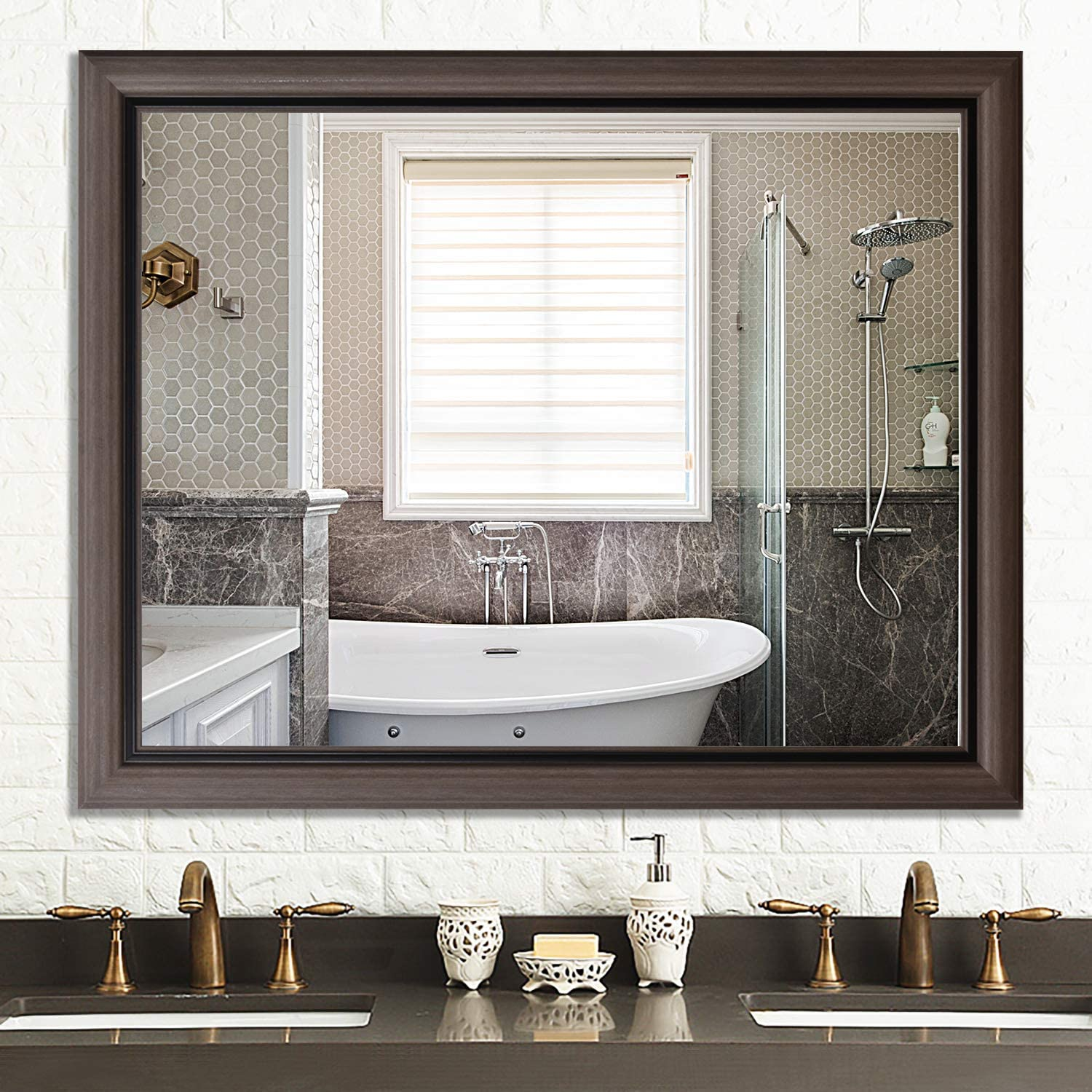 Amazon Com Pexfix 32 X 40 Wall Mirror Modern And Contemporary Accent Mirror Wall Mounted Mirror Simple Wide Frame Hanging Mirror Bathroom Mirror Light Brown Kitchen Dining