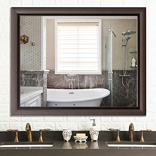 PexFix 32 x 40 Wall Mirror Modern and Contemporary Accent Mirror Simple Wide Frame Hanging Mirror – Light Brown