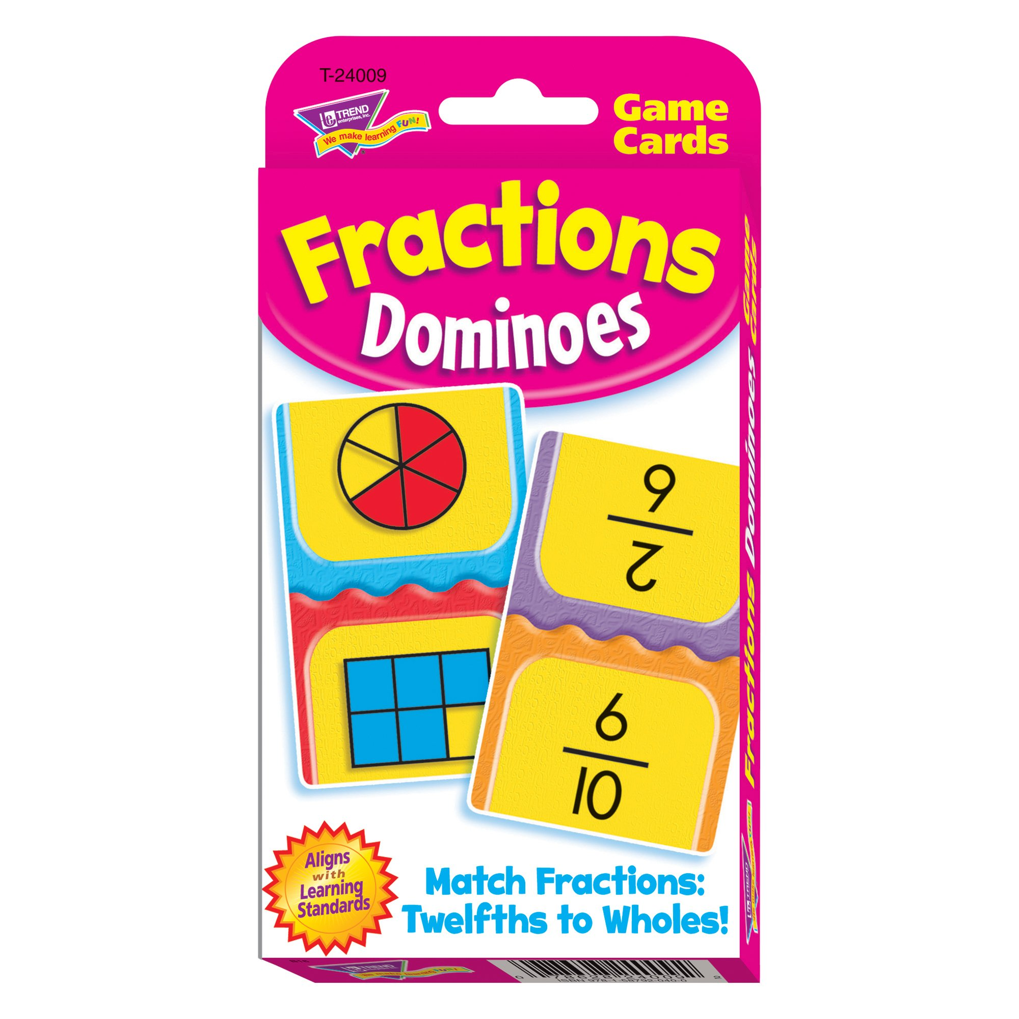 TREND enterprises, Inc. T-24009BN Fractions Dominoes Challenge Cards, 12 Sets