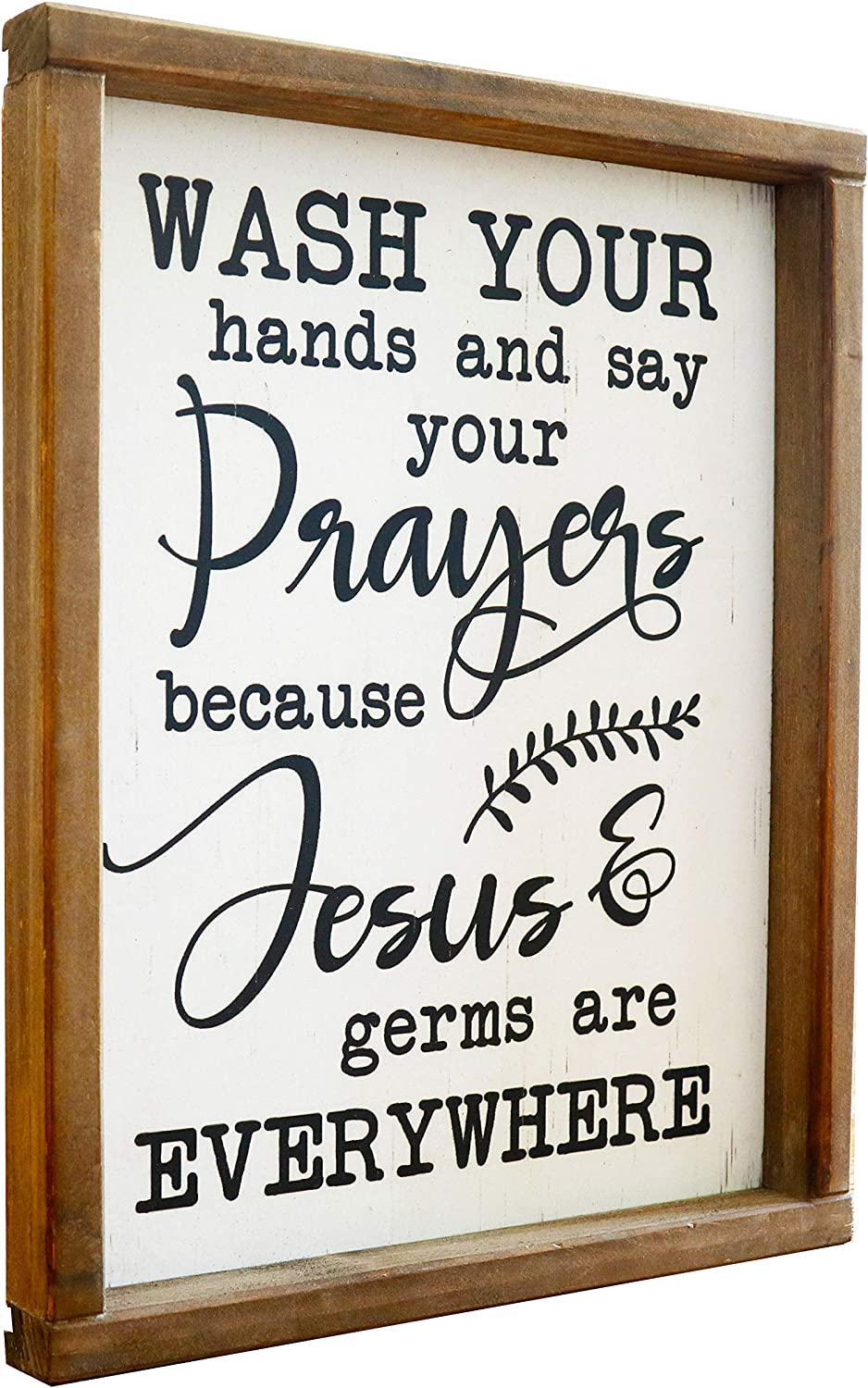 Wash Your Hands and Say Your Prayers sign -Funny Signs for Half Bathroom Decor-Framed Farmhouse Bathroom Wall Decor-Cute Guest Bathroom Decor Wall Art, Rustic Home Décor Housewarming Gift 9.4x11.8inch