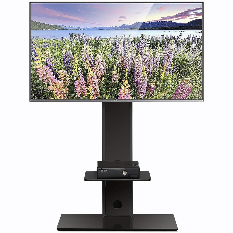 FITUEYES テレビスタンド 32~65インチ対応 壁寄せテレビスタンド 高さ調節可能 ラック回転可能 棚付き ブラック TT207501MB B07GBVSLCC