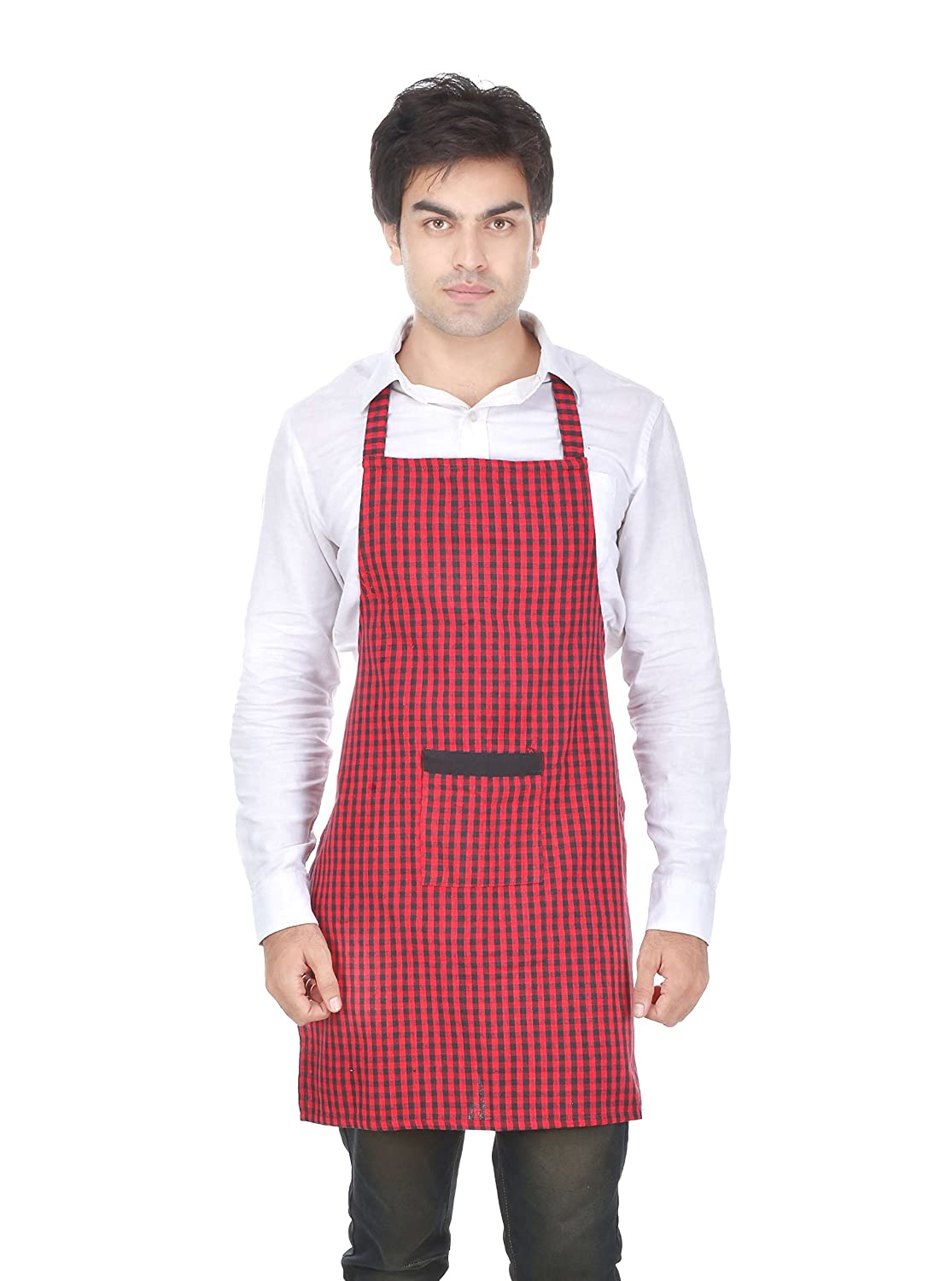 7ee968bfcd6 Switchon Red And Black Chef s Apron With Cap For Home Hotel And  Restaurants  Amazon.in  Amazon.in