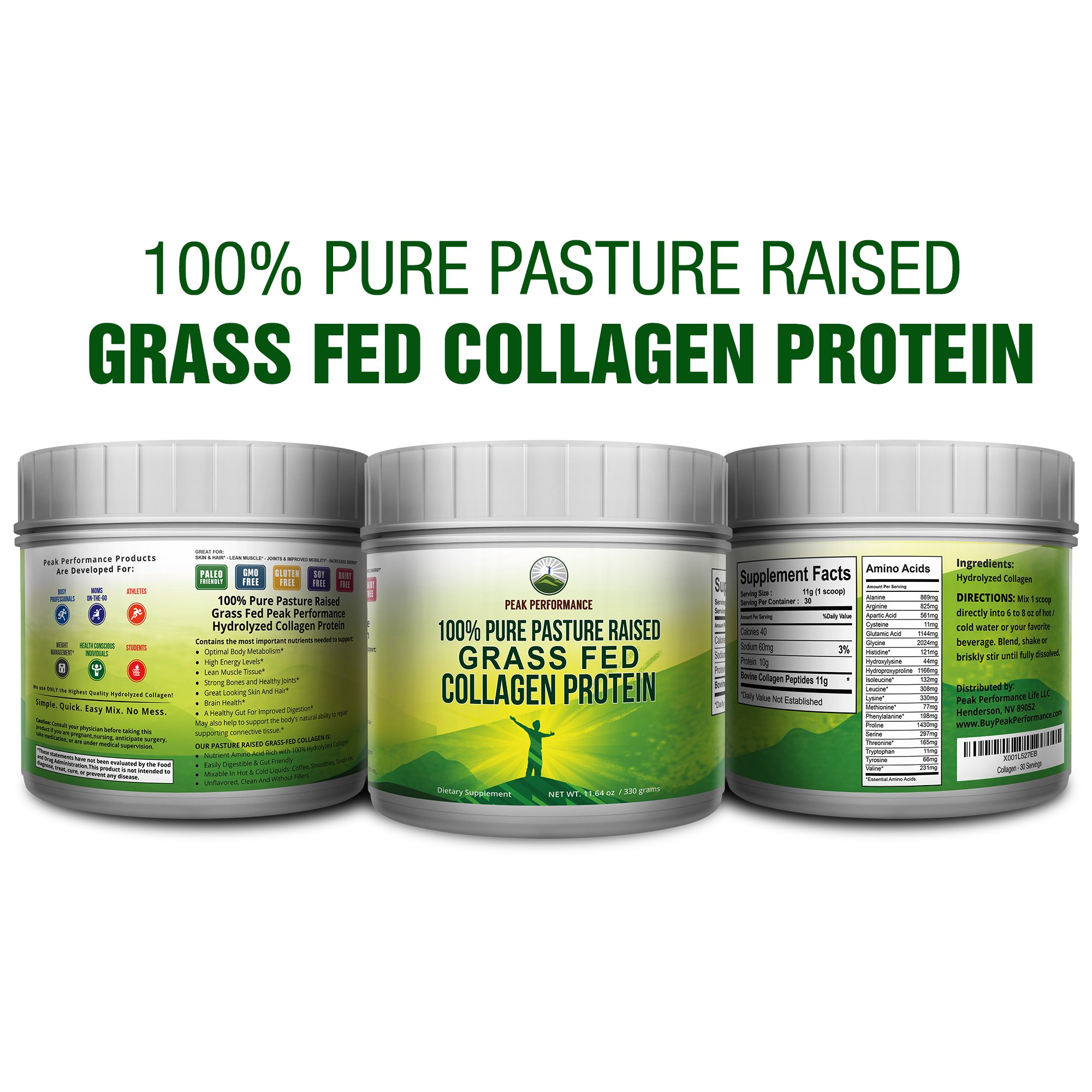 Pure Pasture Raised Grass Fed Hydrolyzed Collagen Protein by Peak Performance. Paleo Friendly, Gluten & Dairy Free Collagen Peptides (Unflavored Collagen) by Peak Performance Coffee (Image #2)
