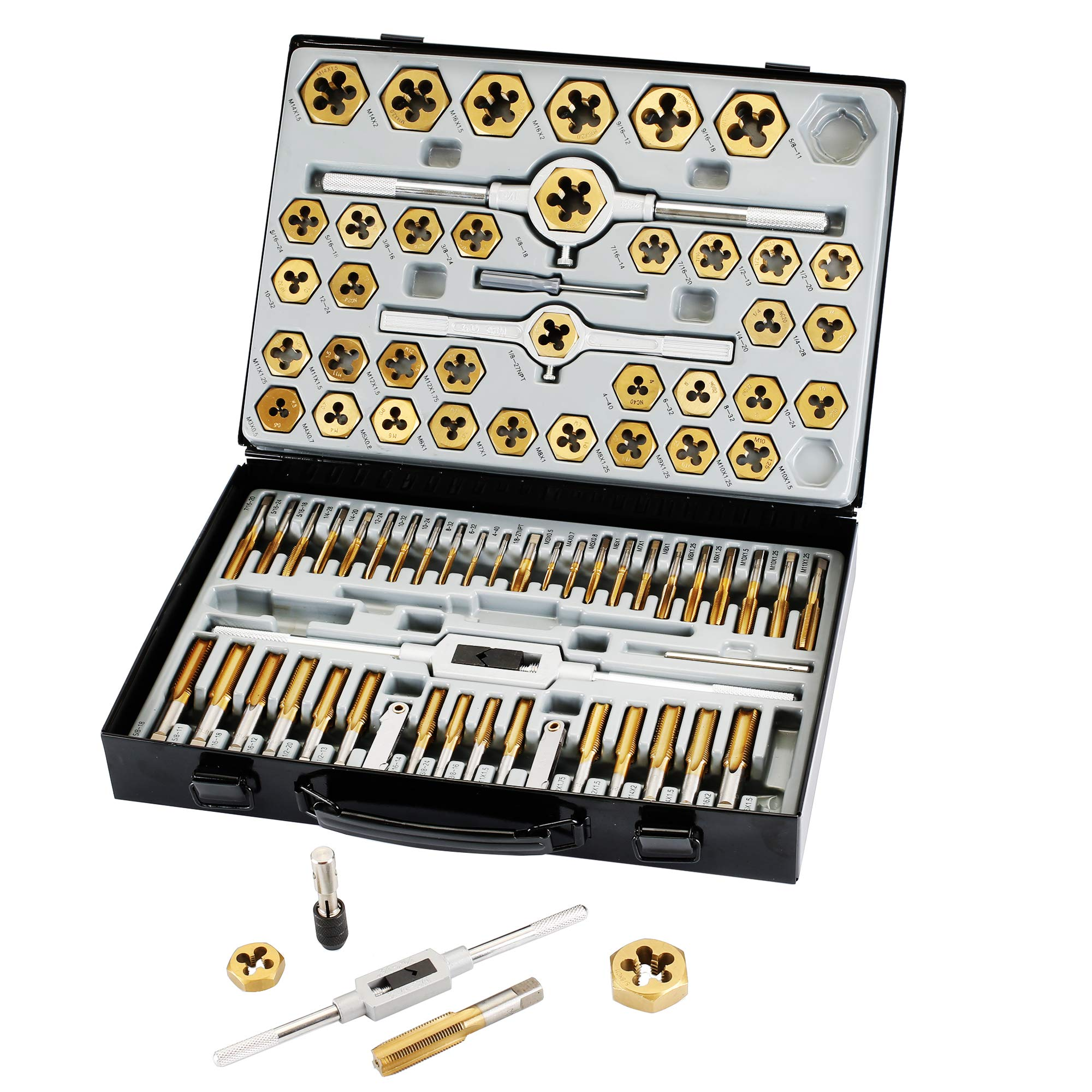Muzerdo 86 Piece Tap and Die Set Bearing Steel Sae and Metric Tools, Titanium Coated with Metal Carrying Case by Muzerdo