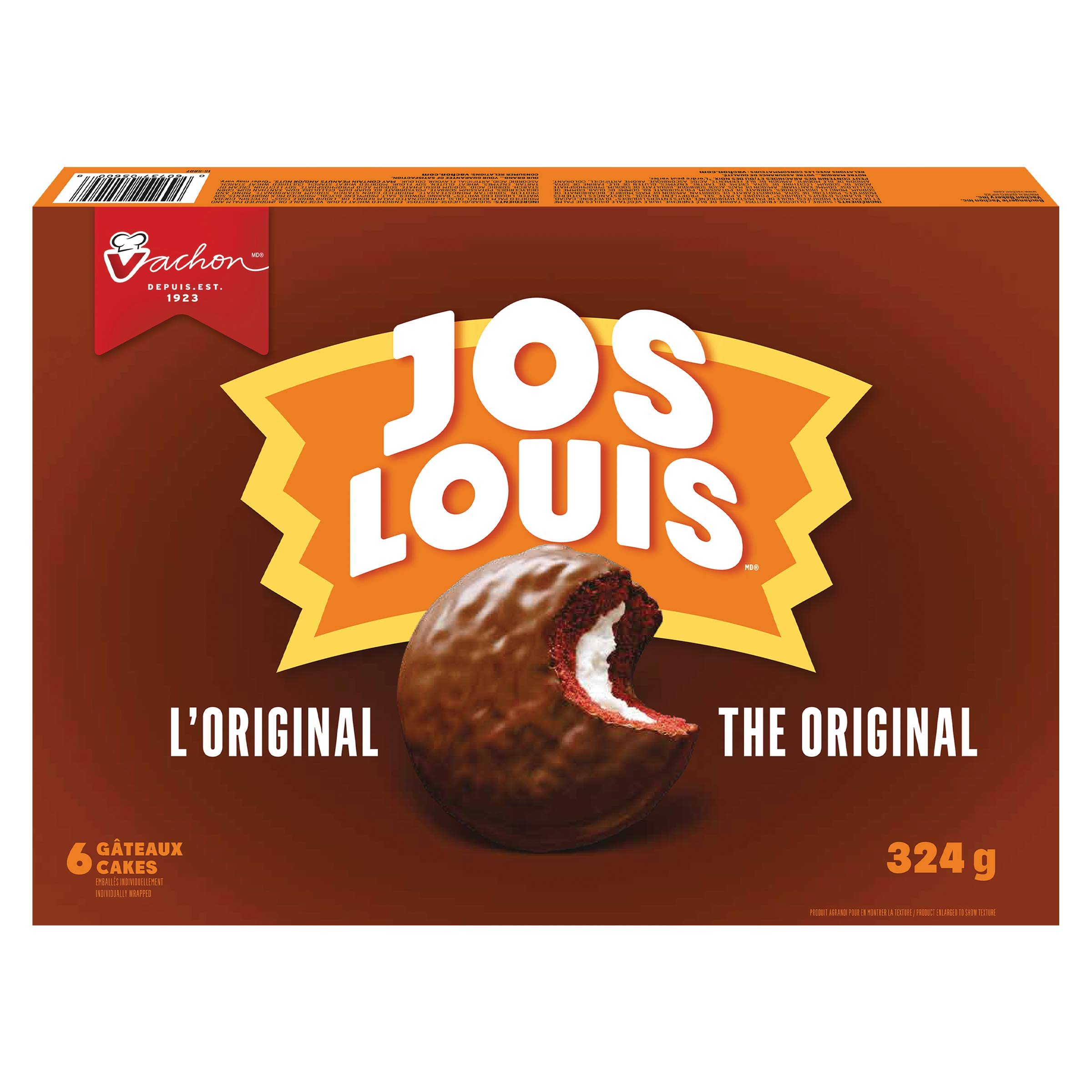 Vachon Jos Louis the Original 6-delicious Sponge Cake with Vanilla-flavoured Creme Filling Coated in a Chocolatey Layer, 324g, 11.4 Oz Box. Made in Montreal Quebec Canada
