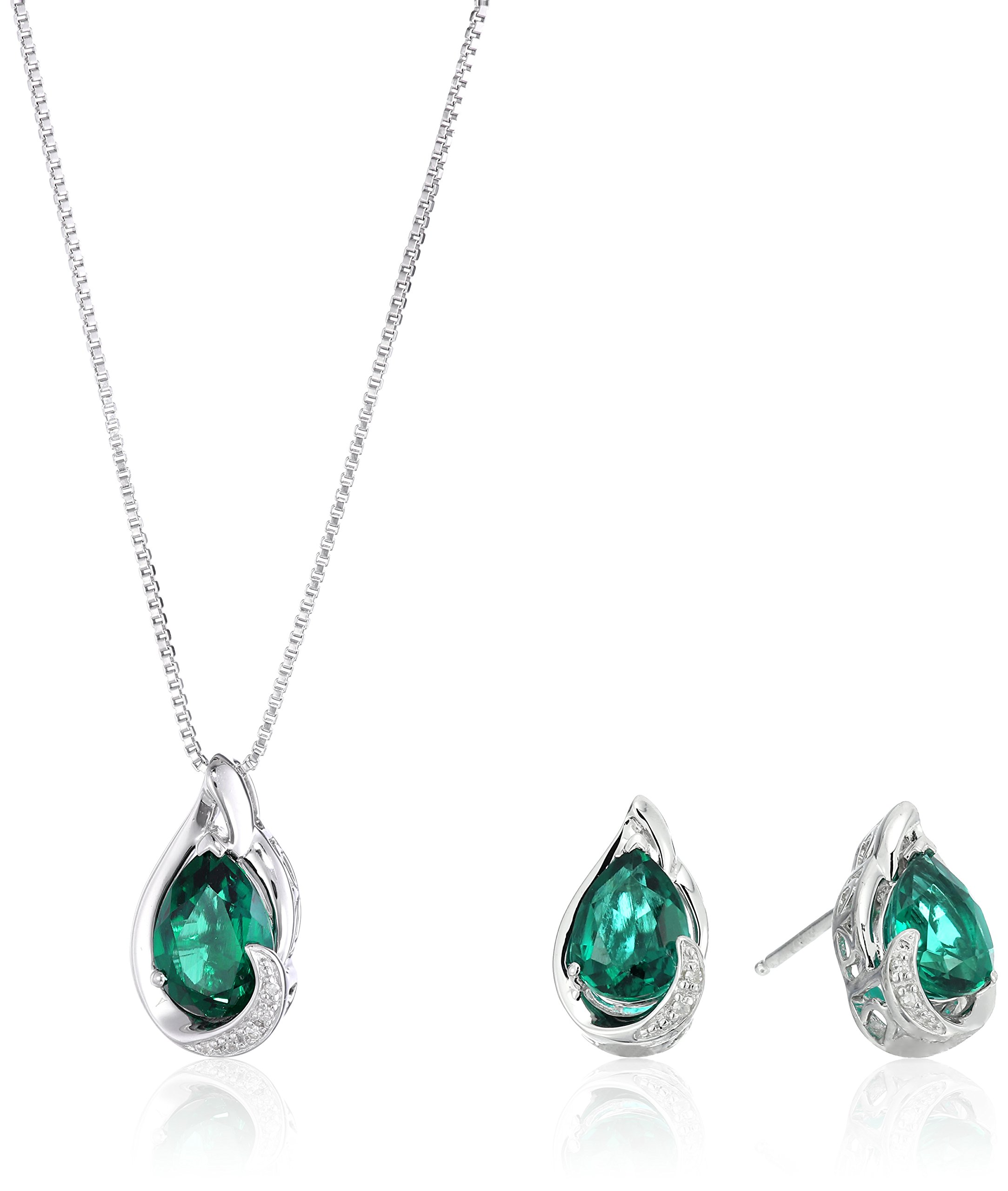 Sterling Silver Created Emerald with Diamond Accent Pear Drop Earrings and Pendant Necklace, 18''