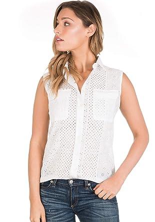 2de60be95e5 CAMIXA Women s Boho Eyelet Lace Peasant Shirt Blouse Modern Wardrobe  Essential XS Bright White