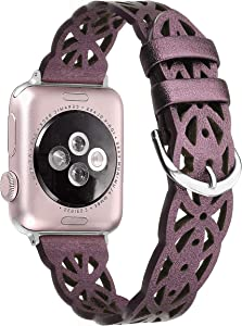 Secbolt Hollowed-Out Leather Band Compatible with Apple Watch Bands 38mm 40mm iWatch Series 6/SE/5/4/3/2/1, Elegant Top-grain Leather Wristband Strap Accessories for Women, Purple