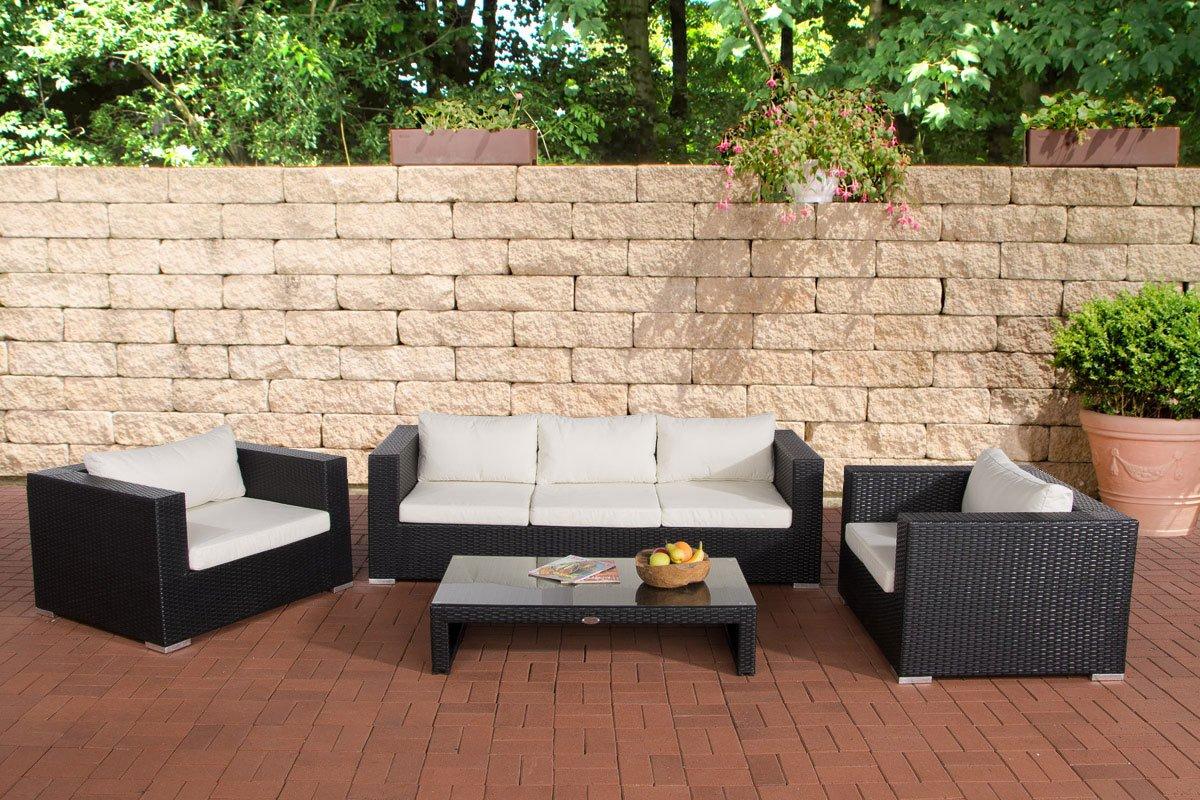CLP 14 teiliges Set: Polyrattan Gartengarnitur CASABLANCA, mit Aluminiumgestell (3er Sofa + 2 Sessel + Tisch 120 x 64cm + Kissen) schwarz