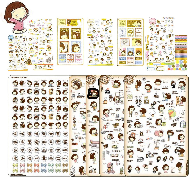 EKOI Cute Korean Stickers - Helloday Girl Korea Sticker Small for Diary Planner Stationary Bullet Journal Writing Book Postcard Scrapbook Laptop, DIY Decorations Journaling Art Supplies (15 Sheets)