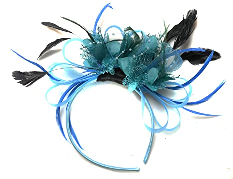 d4e2dc93741c4 Image Unavailable. Image not available for. Color  Aqua Turquoise and Teal  Net Hoop Feather Hair Fascinator ...